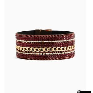 🆕RED & GOLD-TONE CHAIN-LINK MAGNETIC BRACELET